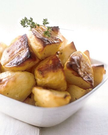 Greek Lemon Roasted Potatoes - Martha Stewart Recipes. Currently in my oven, and looking pretty-pretty good