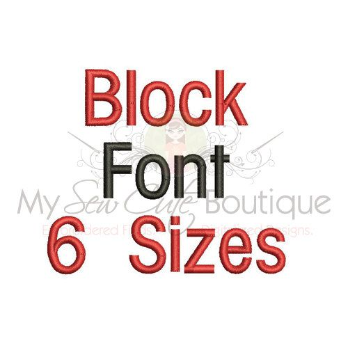 Block Font Embroidery Design  6 Sizes by mysewcuteboutique on Etsy