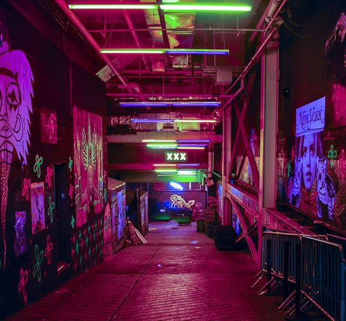 Neon underground, club-like environment