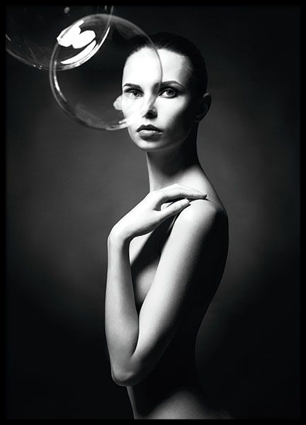 Entries with beautiful photograph of a woman and bubbles. Find more amazing art at www.desenio.com