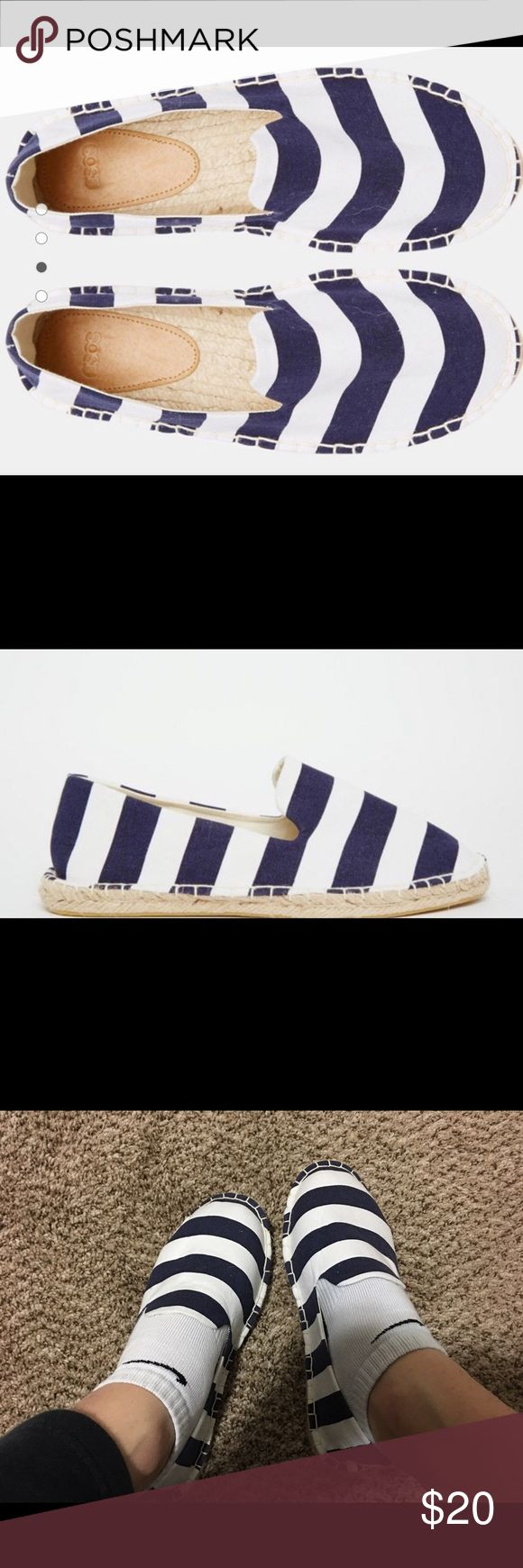 espadrilles by ASOS Brand new in package!!!  Super cute striped blue and white espadrilles shoes.  Also available in pure white!!!  If you bundle you save!!!✌🏽️ ASOS Shoes Espadrilles