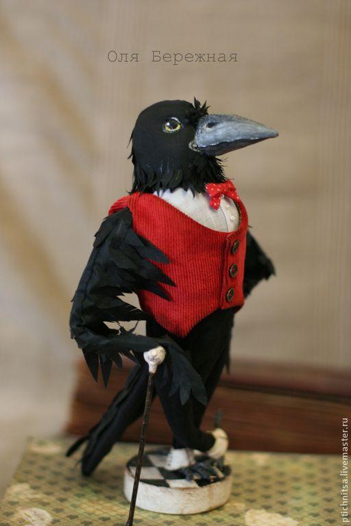 Граф Вороновский - черный,ворон,птица,трость,осанка,образ,текстиль,проволока