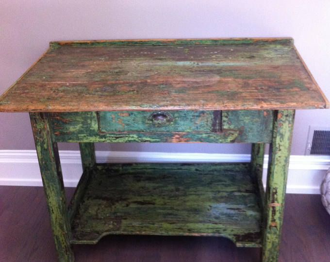 Vintage chippy paint potters gardeners bench table