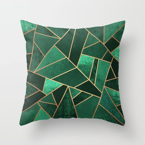 Emerald and Copper Throw Pillow by Elisabeth Fredriksson