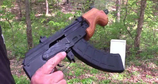 Old Office Refrigerator Makes Good Target for Shooting an AK47 Pistol [VIDEO]