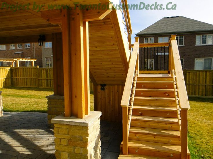 Two Level Stairs Going To The Upper Deck Deck Design