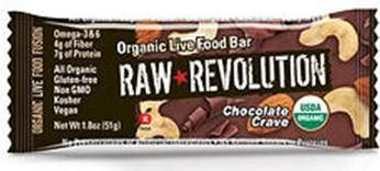 A bulk box of 12 bars of Raw Revolution Chocolate Crave.