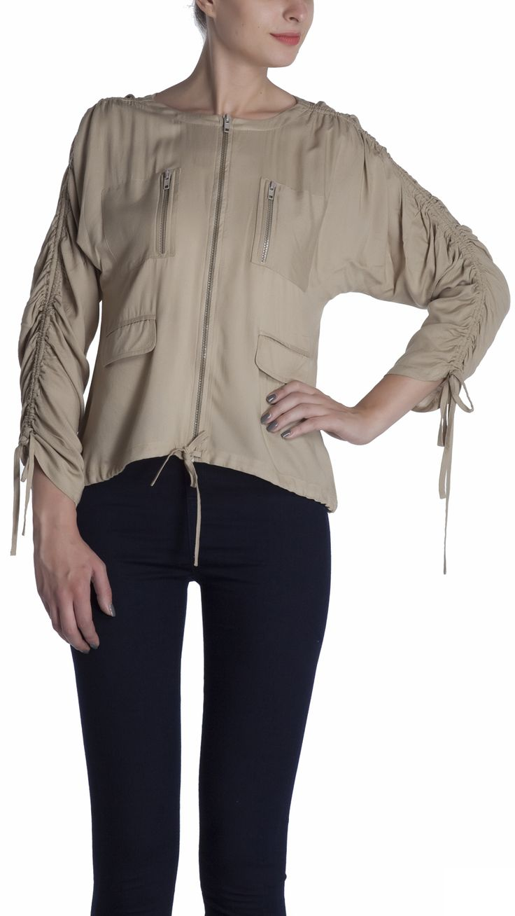 Biker scaled jacket with front metal zipper opening, styled with 2 zipper pockets and 2 flap pockets in front, rushing at sleeve with tie up.