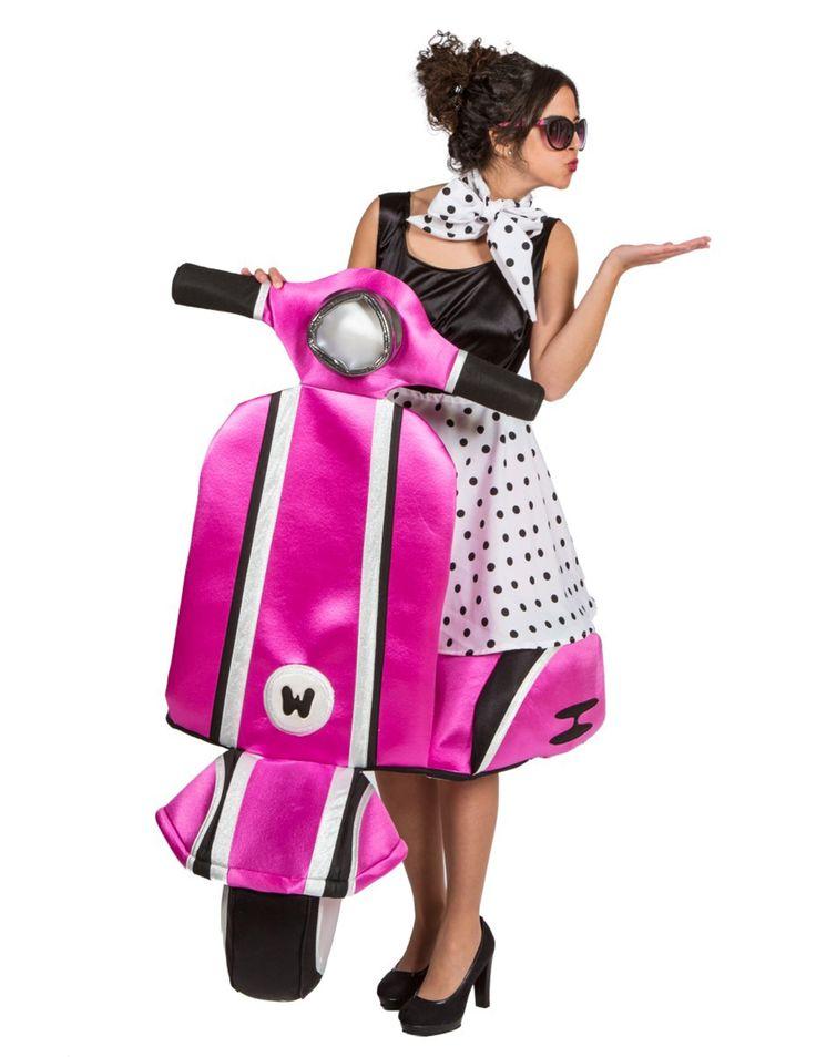 Premium-Kostüm Vespa der 60er Jahre für Frauen: Dieses Kostüm für Erwachsene besteht aus einem Rock, einem Schal, einem Top und einer Vespa aus Schaumstoff (Die Schuhe und die Sonnenbrille sind nicht im Lieferumfang enthalten). Um sich wie...