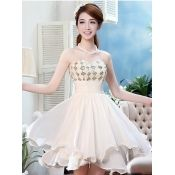 $35.49 Fashion Strapless Off The Shoulder Knee Length Champagne Chiffon Bridesmaid Dress