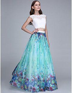 LAN TING BRIDE Hasta el Suelo Joya Vestido de Dama de Honor - vestido patrón Sin Mangas Raso Encaje