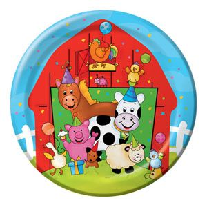 51 - Barnyard Bash Lunch Plates. Pack of 8 Barnyard Bash Luncheon Plates (18cm) Paper - Pack of 8