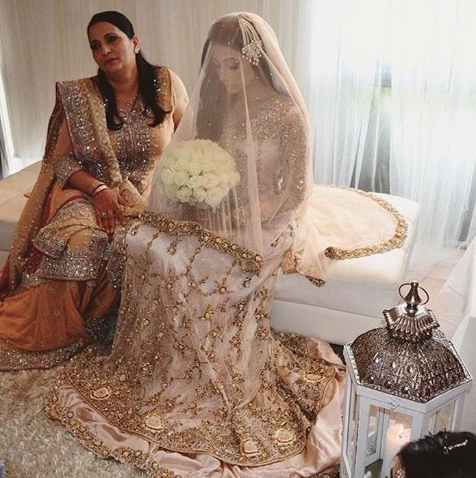 Blush color Pakistani bridal outfit