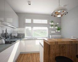 """Salon, kuchnia, przedpokój w domu jednorodzinnym - Średnia kuchnia, styl skandynawski - zdjęcie od Pracownia Aranżacji Wnętrz """"O-kreślarnia"""""""