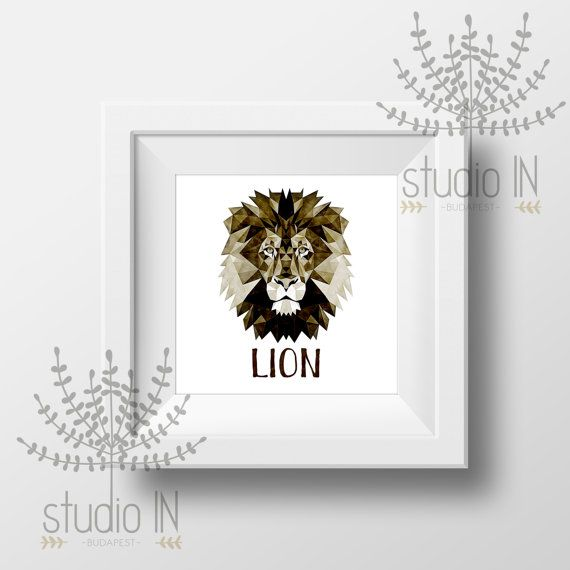LION Print, lion Art, lion Wall Art, Geometric lion Print, Wall Print, Origami lion Print, lion head, Geometric lion Art, Triangle lion