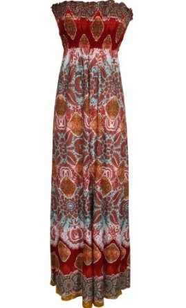 """I just received this dress yesterday. Ordered it for an upcoming cruise. I am 5'6"""", 130lbs, 34C. I ordered the Medium in the Rust color. It fit perfect with a strapless bra, and just barely touches the ground in bare feet.: Summer Dress, Fashion, Junior Plus Size, Hawaiian Smocked, Style, Smocked Tube, Maxis, Tube Maxi Dresses"""