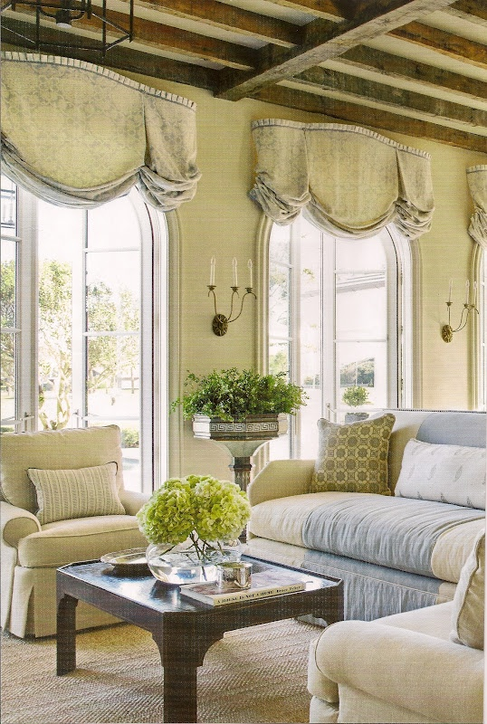157 best valances images on pinterest window dressings for Linen shades window treatments