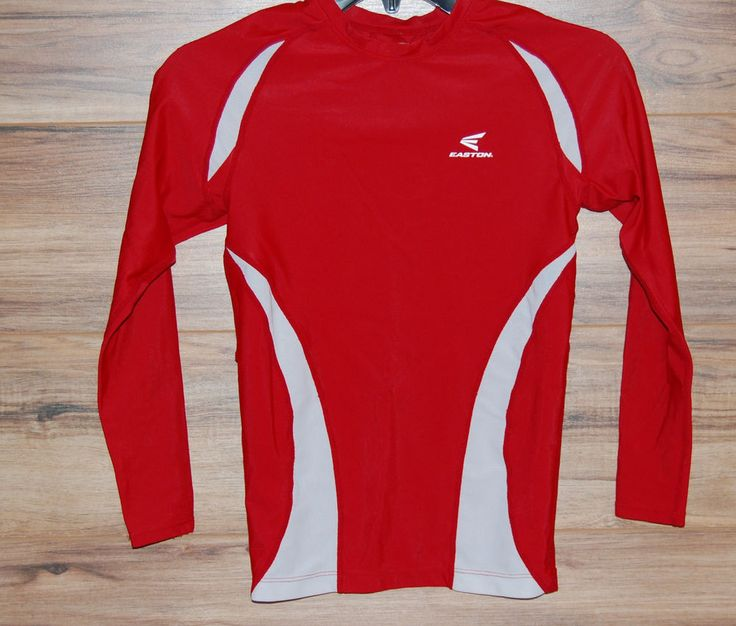 Easton Baseball Softball Long Sleeve Compression Shirt Red Fitted Youth Large #Easton #BaseLayers