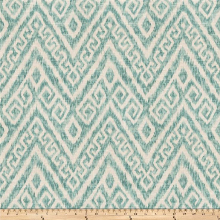 Jaclyn Smith 03709 Peacock from @fabricdotcom  Screen printed on 55% linen, 45% rayon, this medium/heavyweight fabric features a flamestitch / bargello pattern and is perfect for window accents (draperies, valances, curtains, and swags), accent pillows, duvet covers, and upholstery projects.
