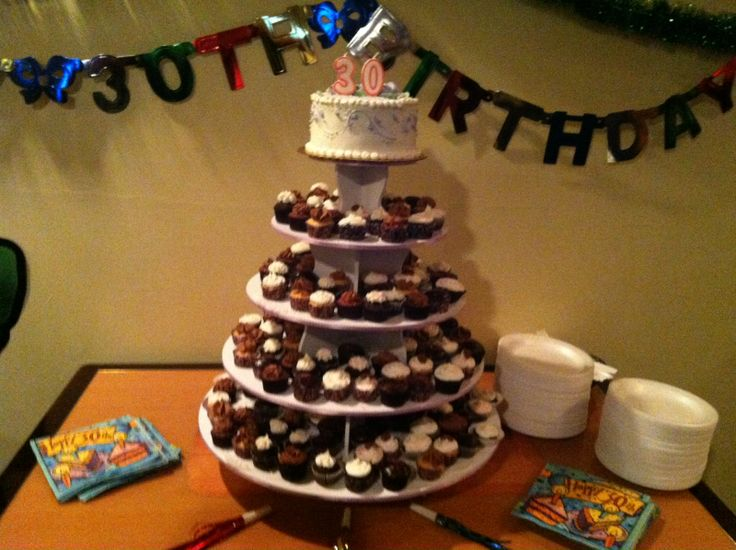 30th Birthday Round Cupcake Tower Display: http://www.thesmartbaker.com/products/5-Tier-Round-Cupcake-Tower.html