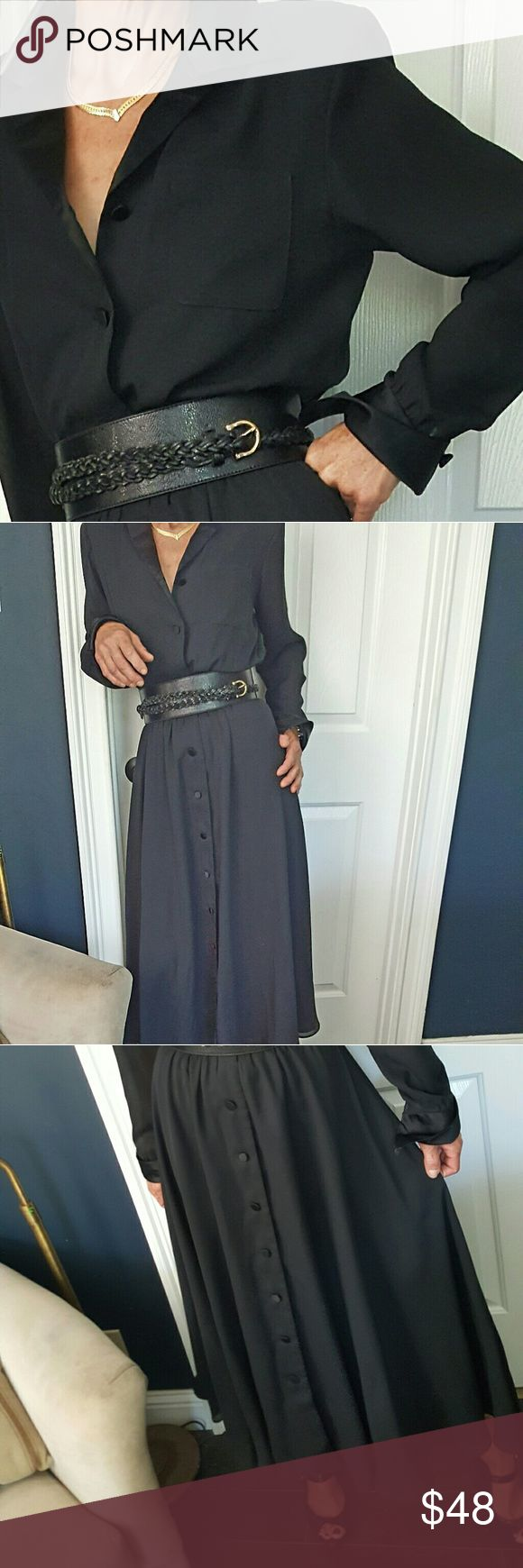 """🍸 1980s Classy Black Tuxedo Dress 🍸 EUC  Gorgeous line and flow. Model is 5'8"""" with a thin build. Perfect physique for this dress. Original belt no shown, modern belt on model, both belts included in the price. Dresses Midi"""