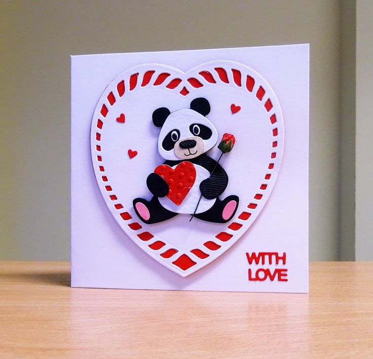Valentine Card - Marianne Collectables Panda Die & Tonic Heart Die. To purchase my cards please visit CraftyCardStudio on Etsy.com.