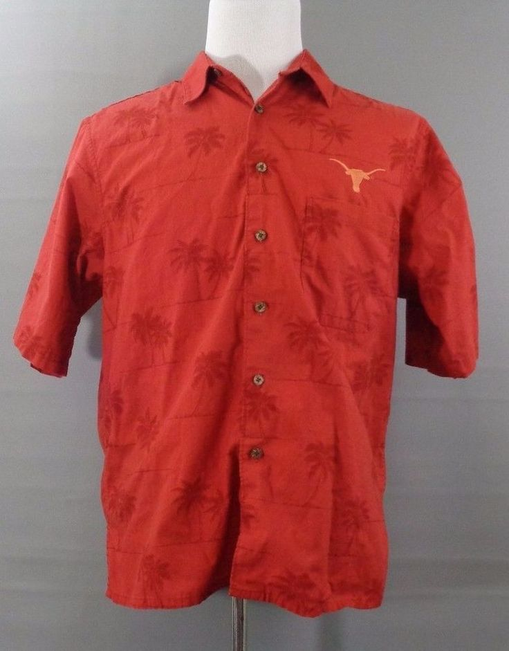 Mens Reyn Spooner L Tropical Orange Short Sleeve Texas Longhorn Shirt Button Up  #ReynSpooner #ButtonFront