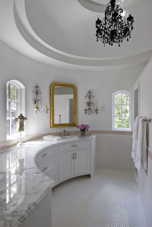 Amazing Girls Bathroom With Curved Walls And Round