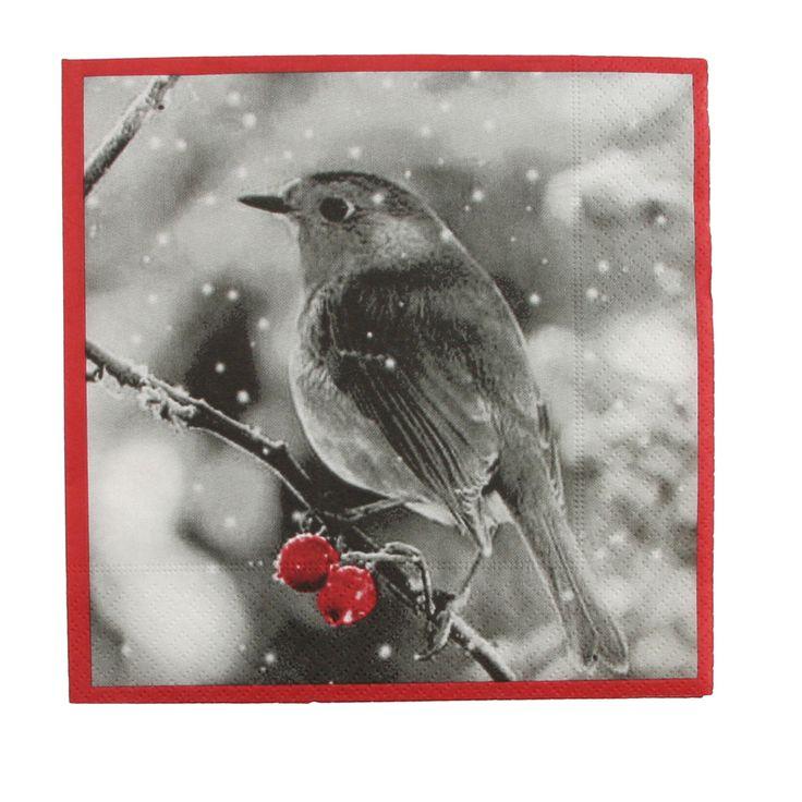 Servietter, fugl med røde bær
