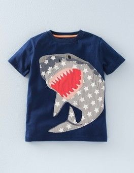 Shark Big Applique T-Shirt | Mini Boden