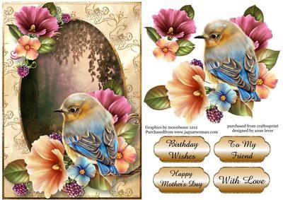 Gorgeous Blue Bird Summer Flowers on Craftsuprint designed by Anne Lever - This lovely topper features a beautifully painted bird and summer flowers, on a gold and cream frame and a woodland glen backdrop. It has a single layer of decoupage to add depth and four greetings to choose from. The greetings are birthday wishes, happy mothers day, with love and to my friend. - Now available for download!