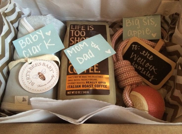 Family care package for a friend that recently had a baby! Too often we forget about the new parents and siblings (even furry ones!) when focusing on the newborn. This way no one is left out :)