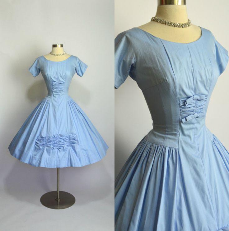 Cinderella Dreams 1950's Vintage Light Blue Cotton Short ...