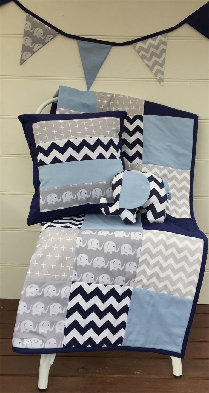 Baby Boy Navy Blue, Baby Blue & Grey Elephant Patchwork Cot Quilt