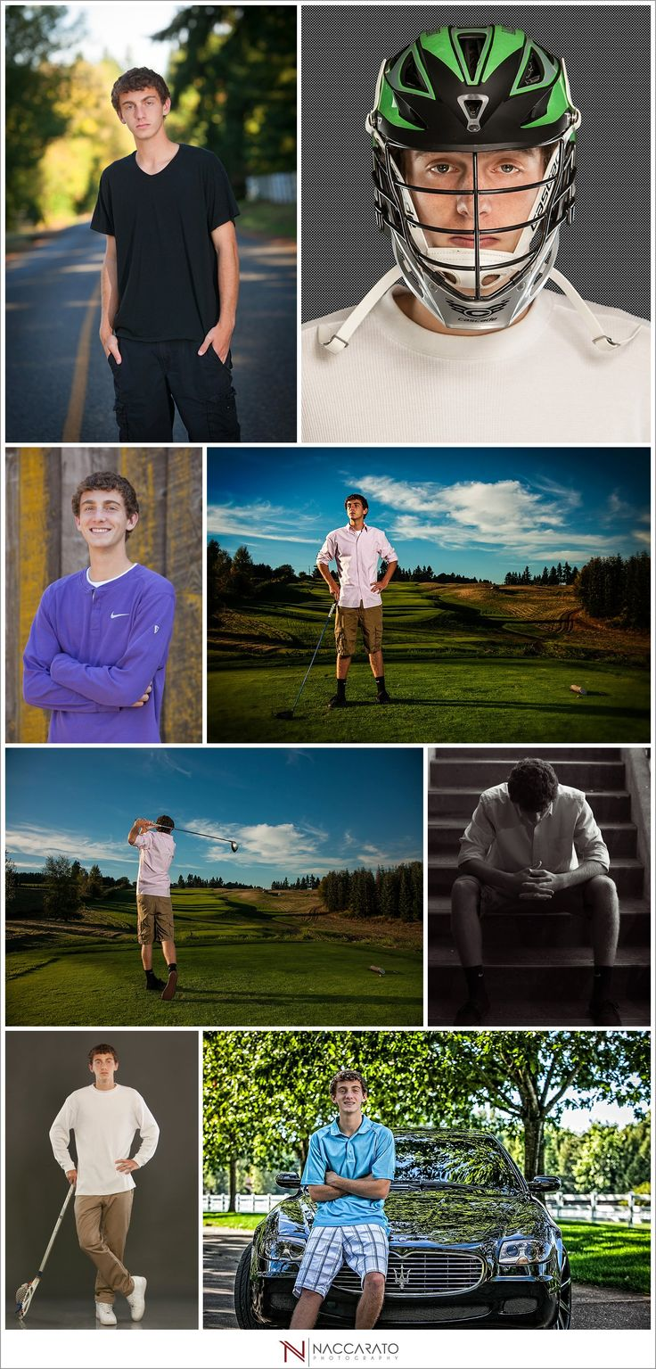 Senior guys pictures with football, golf, and a Maserati.