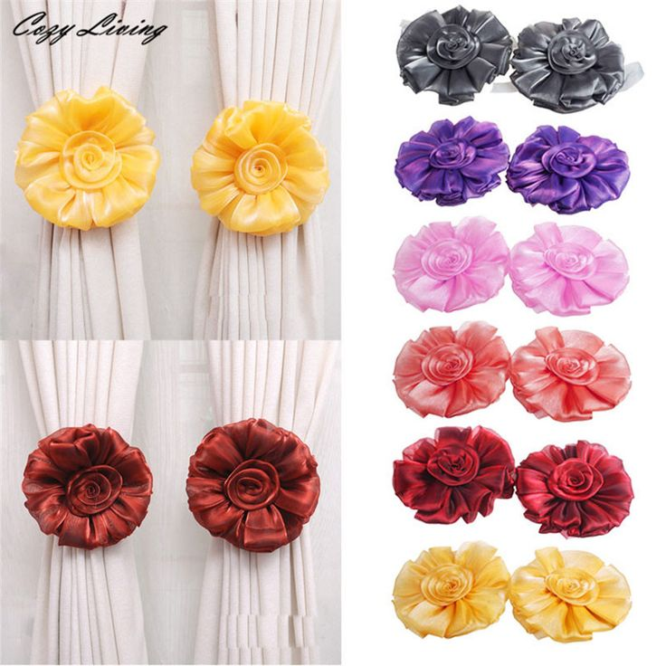 Curtain Clip 1 Pair Rose Flower Window Curtain Tieback Buckle Clamp Hook Fastener Decor Elegent Curtain Buckle Strap DEC 5TH