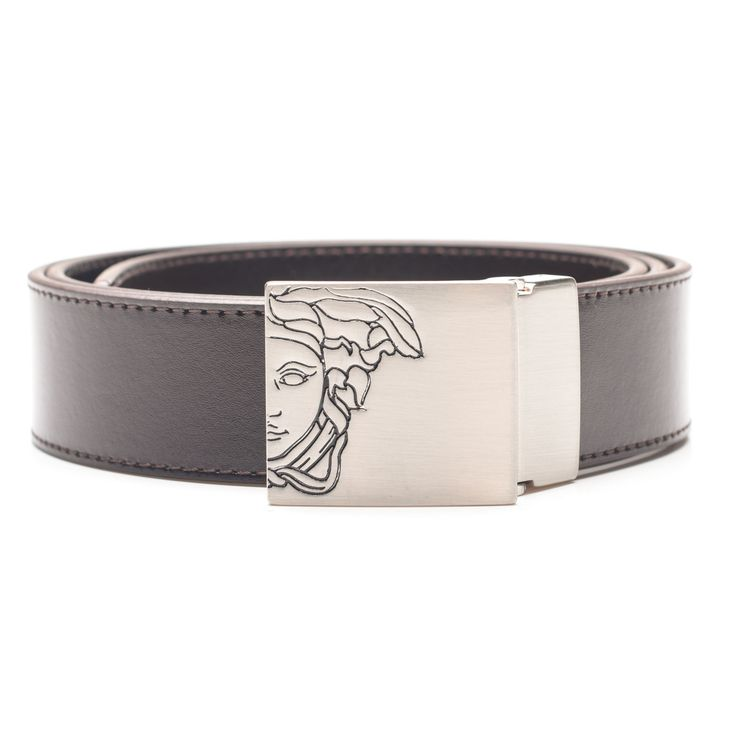 Versace Collection Men's Dark Medusa Head Belt