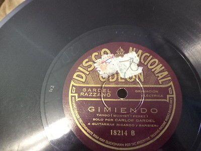 20s-Argentine-DISCO-NACIONAL-Odeon-78-CARLOS-GARDEL-w-Guitarras