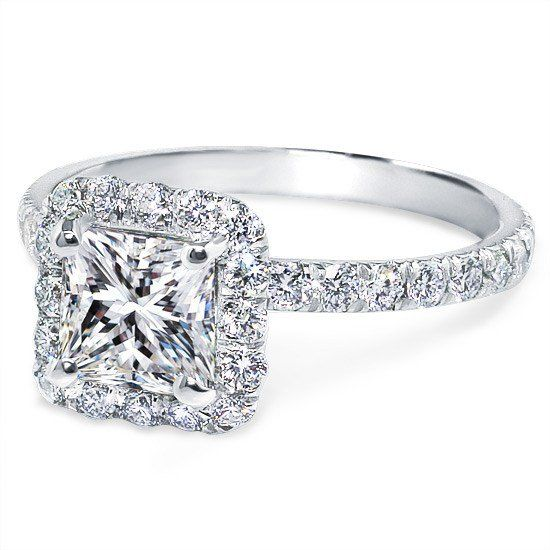 Princess Diamond Halo Engagement Ring Diamond Band