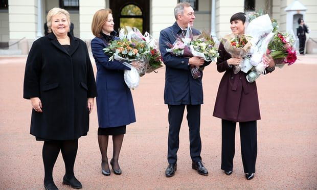 """#TheGuardian ... """"Women take top three jobs in Norway's government:  Ine Eriksen Søreide joins prime minister Erna Solberg and finance minister Siv Jensen in rightwing coalition government."""""""