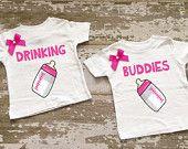 Drinking Buddies Twin Girls Shirt Set with Bows