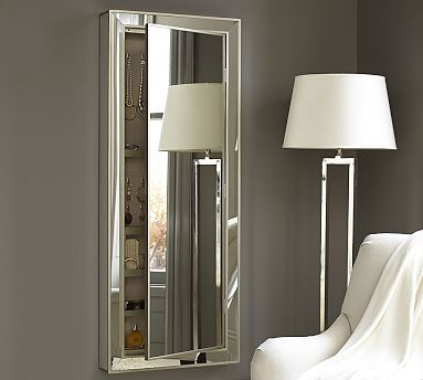 Park Mirrored Jewelry Closet - combine your need for a tall mirror and jewelry and accessory storage in one. Line a wall with two or three.