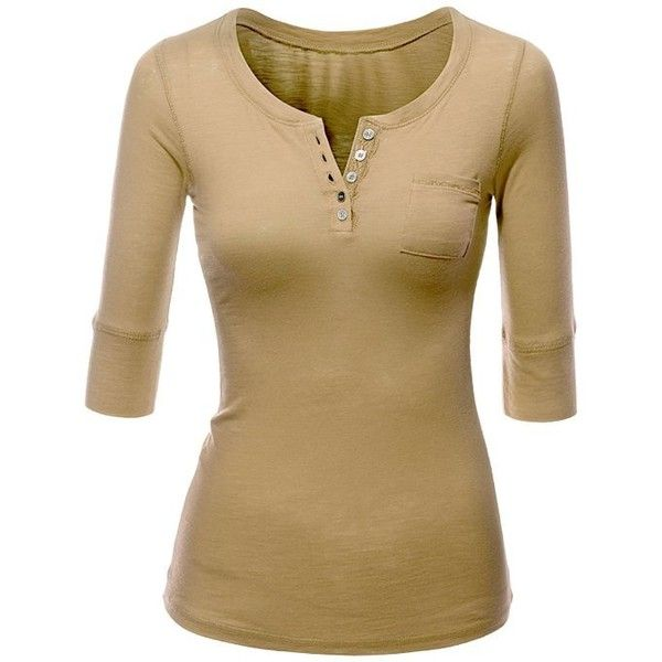 Doublju Women 3/4 Sleeve Henley Neckcline Lightweight Top:... ❤ liked on Polyvore featuring tops, shirts, long sleeve shirts, long sleeve henley shirt, 3/4 length sleeve tops, lightweight shirt, brown long sleeve shirt and three quarter sleeve shirts