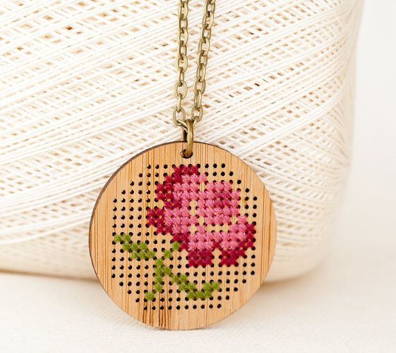 DIY Cross Stitch Necklace Kit  Bamboo with by RedGateStitchery, $24.00