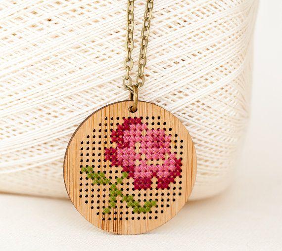 DIY Cross Stitch Necklace Kit  Bamboo with by RedGateStitchery, $24.00