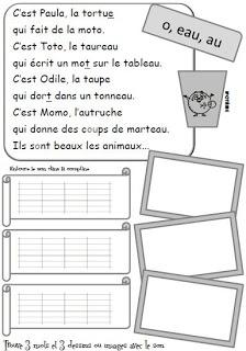 La comptine permet aux élèves d'avoir une trace de la comptine de départ, ils entourent les graphies des sons (si plusieurs graphies, ils utilisent des couleurs différentes) puis ils recherchent dans leurs écrits (lecture, production d'écrits, livret des mots....) 3 mots qu'ils écrivent, puis ils font 3 dessins ou découpent 3 images qu'ils collent sur la fiche.