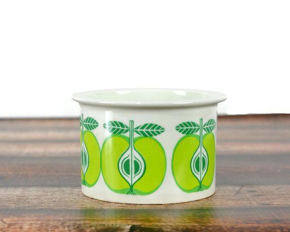 Arabia Finland Green Apple Jam Jar, Pomona, Raija Uosikkinen, Mid Century