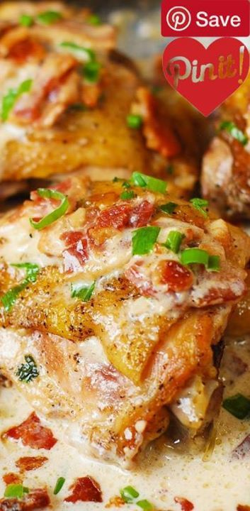 Skillet Chicken with Bacon Cream Sauce - Ingredients Gluten free Paleo Meat 8 strips Bacon cooked 5 Chicken thighs Produce 3 Garlic cloves 2 Green onions 5 Lemon thin slices Canned Goods 1 cup Chicken stock Baking & Spices 1 Salt and pepper Oils & Vinegars 2 tbsp Olive oil