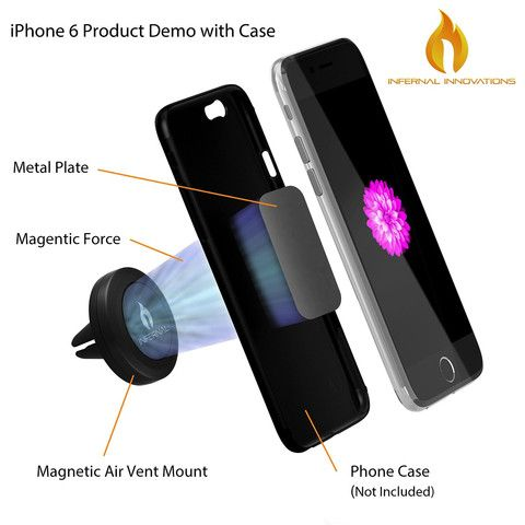#1 Magnetic Air Vent Phone Mount and Smartphone Stand | Universal Phone Holder | FREE BONUS GIFT Extra Metal Plate Included | For Samsung Galaxy S5/S4/S3, Note 4/3, iPhone 6 & Plus/5S/5C/4S, Nexus 6/5, HTC One & Many More | Full 360° Rotation & Swivel