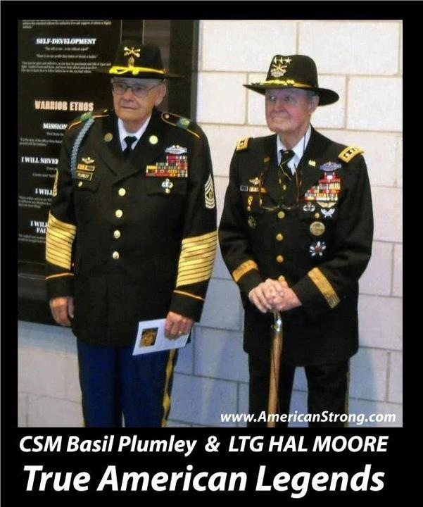 The real heros of the Batlle of  Ia Drang Valley, Vietnam. LTG Harold Moore and CSM Plumley. The CSM died recently at 92. A veteran of three wars.